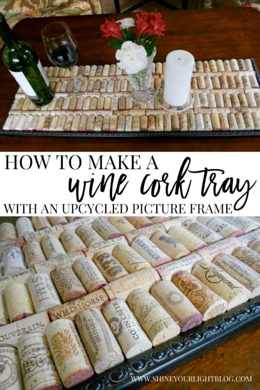 How to upcycle a picture frame an wine corks into a functional tray.