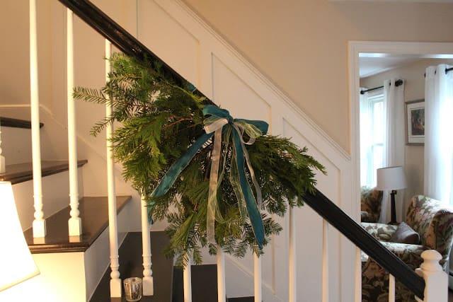 DIY Evergreen Bannister Swag