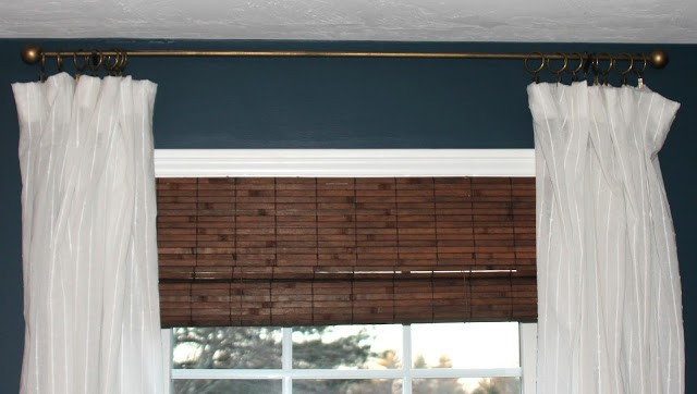 How to hide the hanging hardware on roll-up bamboo blinds.