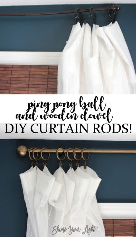 How to make sturdy and pretty curtain rods with a wooden dowel, ping pong bongs and paint.