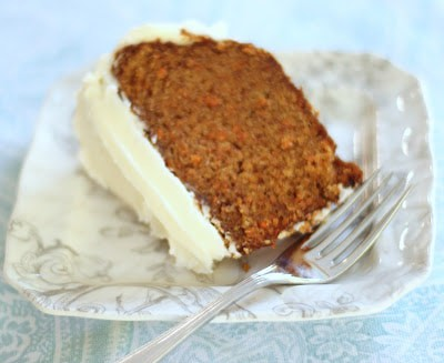 The world's best carrot cake with cream cheese frosting.