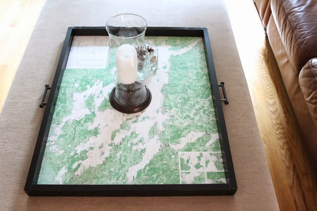 DIY coffee table tray with a nautical map