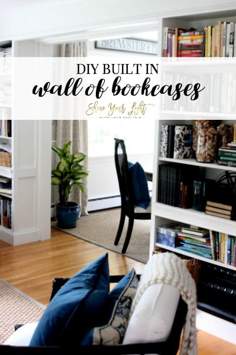 DIY built in wall of bookcases incorporating both Ikea Billy bookcases and custom made bookcases.