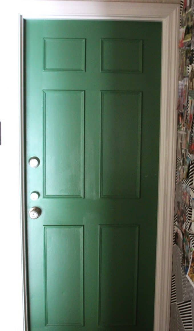 Give a flat door a paneled look with some simple carpentry.