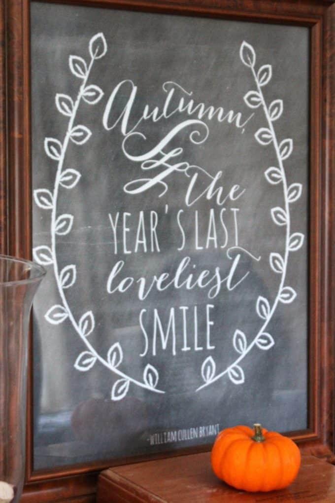 Autumn Chalkboard Prints Shine Your Light