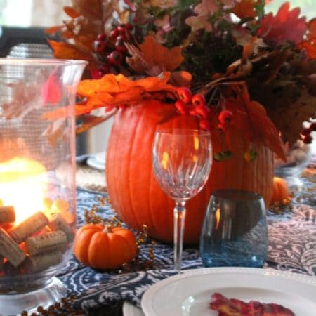 A navy and orange Thanksgiving table.