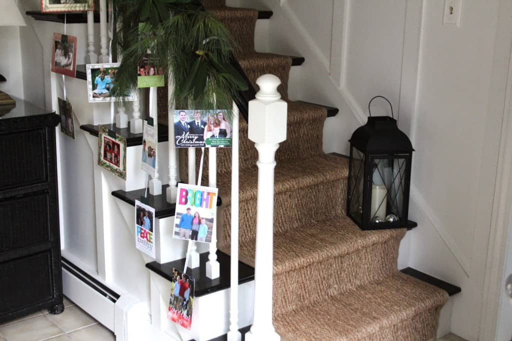 Stair Bannister Christmas Card Display - Shine Your Light