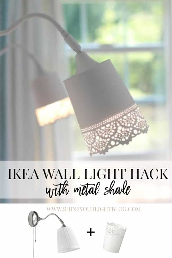 Ikea wall light hack with a metal planter for the shade