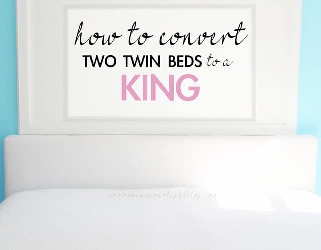 Tutorial on how to convert two twin beds to a king.