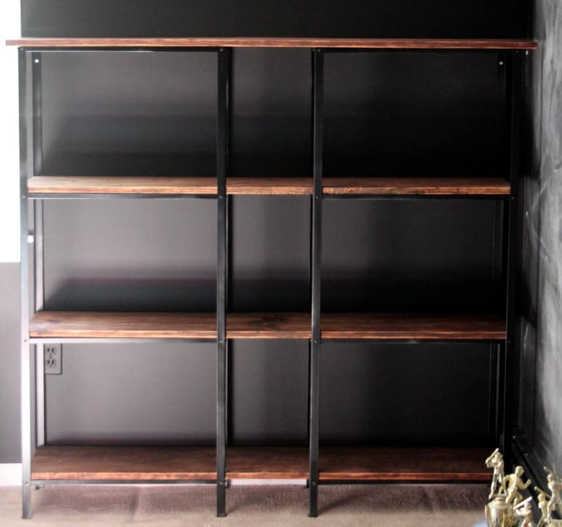Wall mounted display and book shelves.