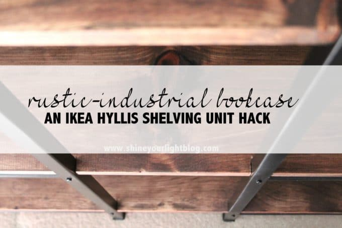 For This Project I Combined Two Ikea Hyllis Galvanized Metal Shelving Units Bridging The With Boards That Stained And Notched To Fit Into