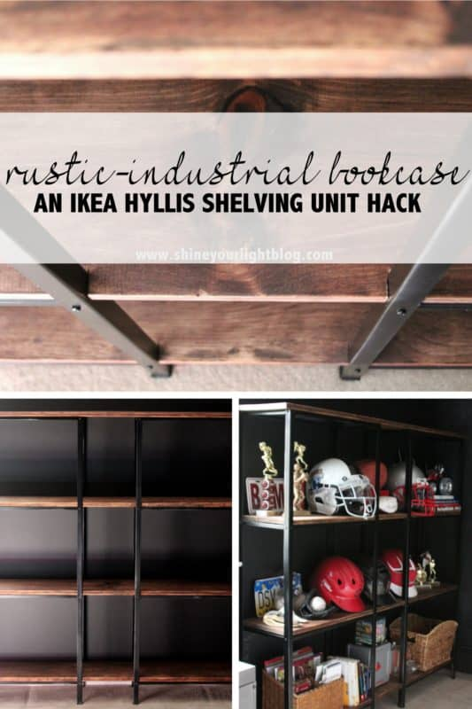 Wood and metal bookshelves made with Ikea utility shelves and stained wood boards.