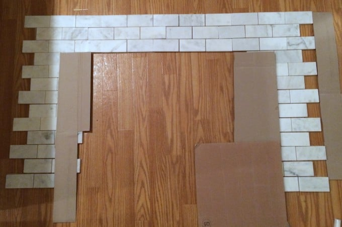 Fireplace Makeover Tiling Over Brick | www.shineyourlightblog.com