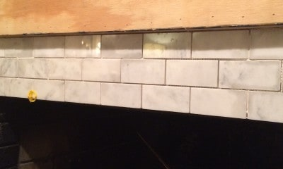 Fireplace Makeover Installing Marble Tile