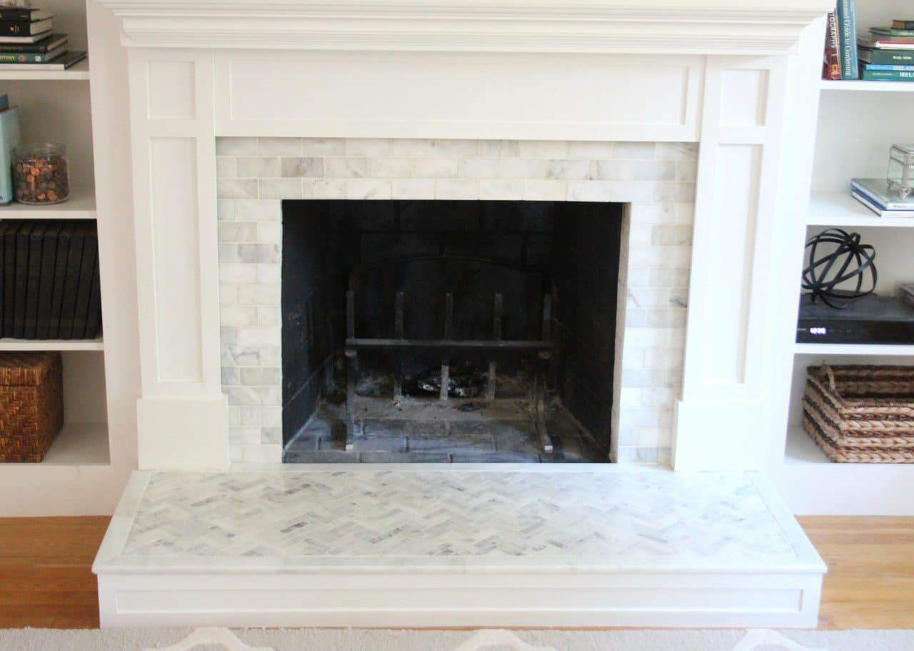 How to tile over a brick fireplace surround shine your light - Tile over brick fireplace ...