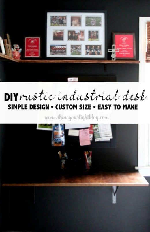 A simple DIY desk of stained wood that is mounted to the wall using shelf brackets.