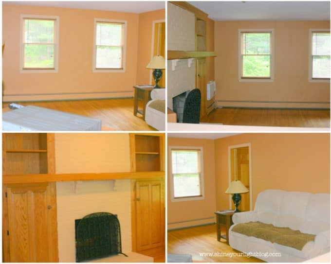 When we bought our home the interior was covered in peach paint.