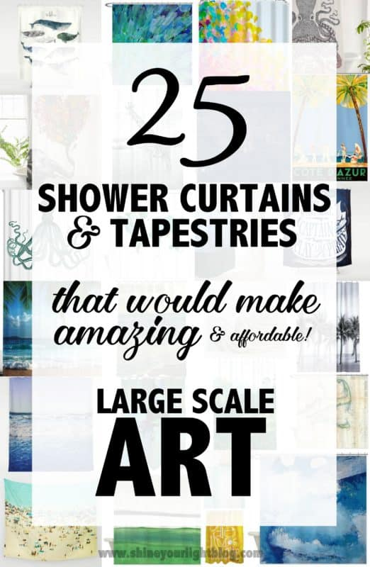 Create large wall art with shower curtains and tapestries.
