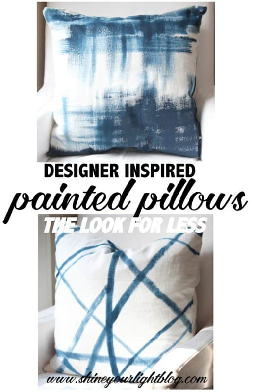 Painted pillows inspired by designer fabrics.