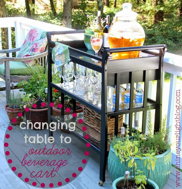 Changing Table Upcycled To Beverage Cart