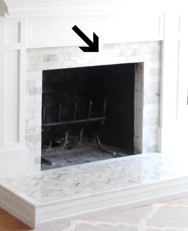 Marble hearth and surround.