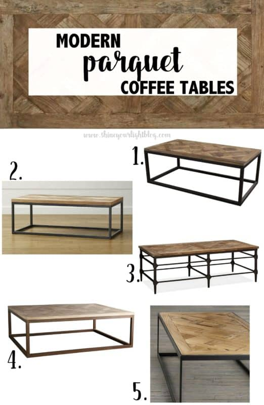 Parquet Wood And Metal Coffee Table Options