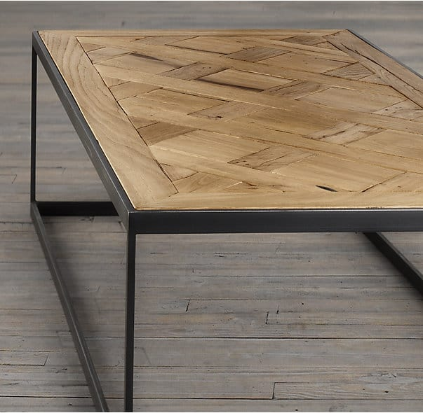 Restoration Hardware Reclaimed Teak Coffee Table: Parquet Wood & Metal Coffee Tables