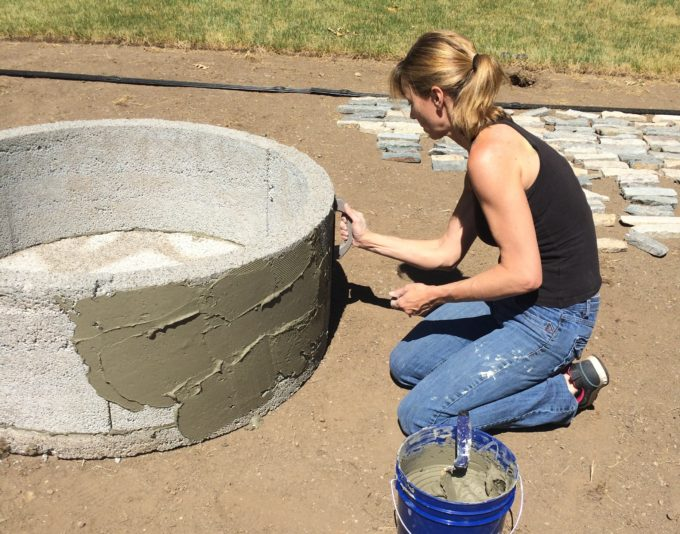 Building a stone veneered fire pit