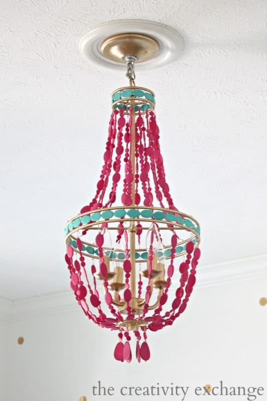 The Creativity Exchange's painted capiz shell chandelier.