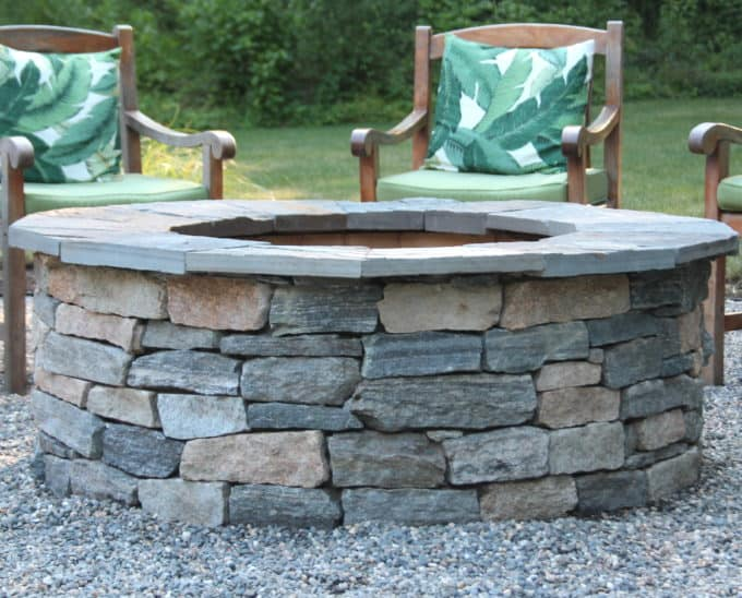How To Diy A Fire Pit Pea Stone Patio Start To Finish Shine