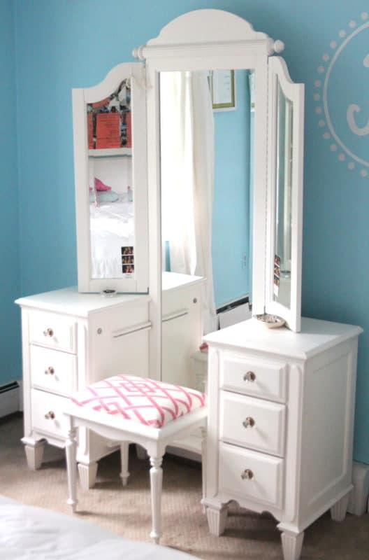 A vanity table with full length mirror and upholstered stool, found at the Habitat Restore