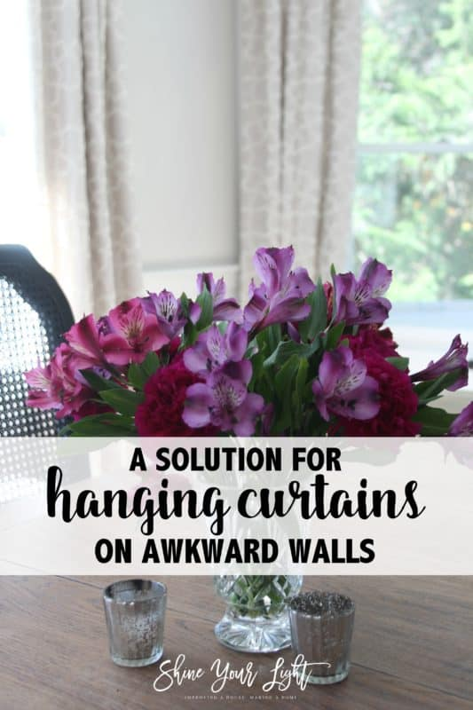 Hanging curtains from cabinet knobs