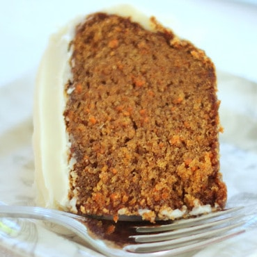 Carrot cake with cream cheese buttercream frosting.