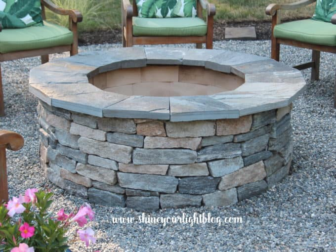 Stone veneered fire pit using a cast cement kit from Stone Farm