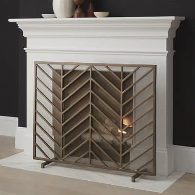 crate-and-barrel-chevron-brass-fireplace-screen