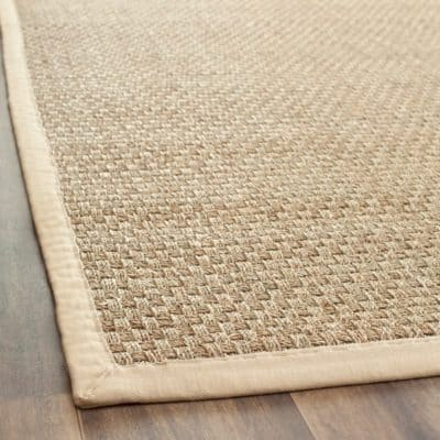 Rug runner for stairs - basketweave seagrass rug with beige border