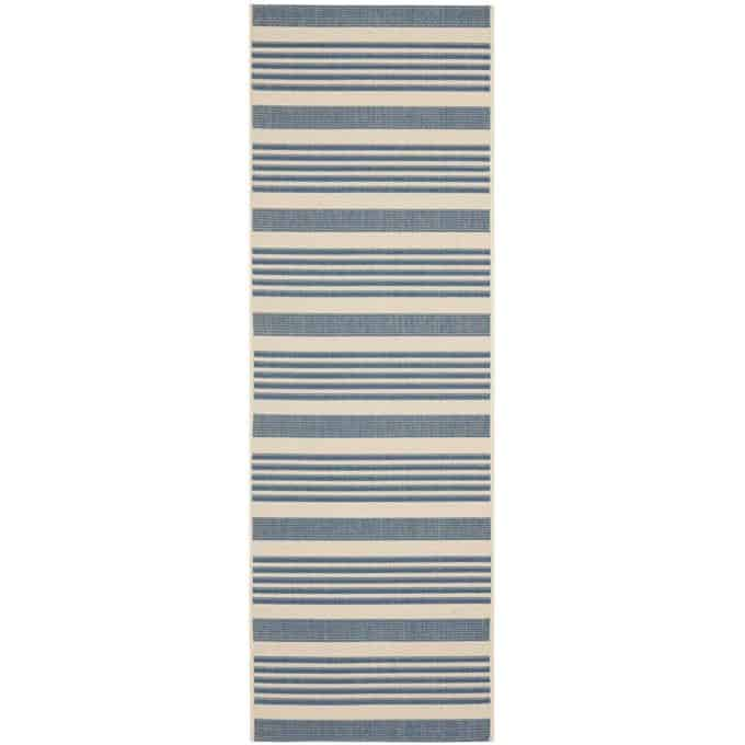 Rug runners for stairs - Blue and Beige Indoor Outdoor Rug