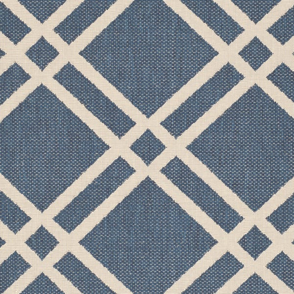 Rug runner for stairs - blue and white lattice pattern on indoor/outdoor rug