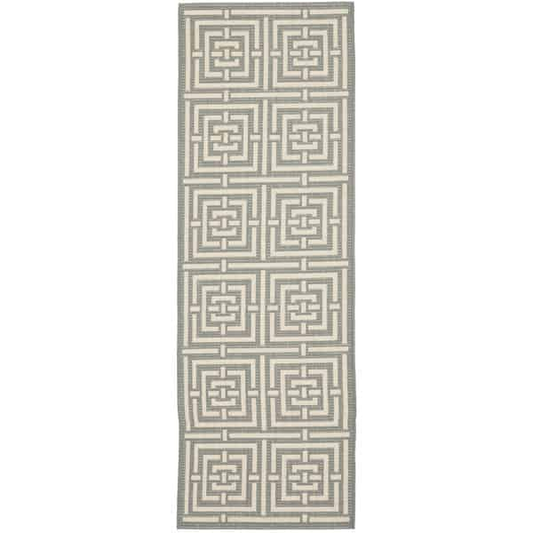 Rug runner for stairs - indoor outdoor Greek key-like pattern in grey and white