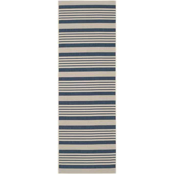 Rug runners for stairs - Navy and Bone Indoor/Outdoor