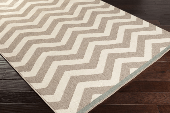 Rug runners for stairs - chevron in khaki and cream