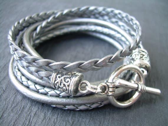 silver-metallic-leather-wrap