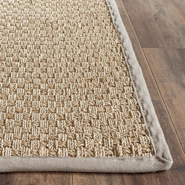 Rug runner for stairs - Basketweave Seagrass with gray border