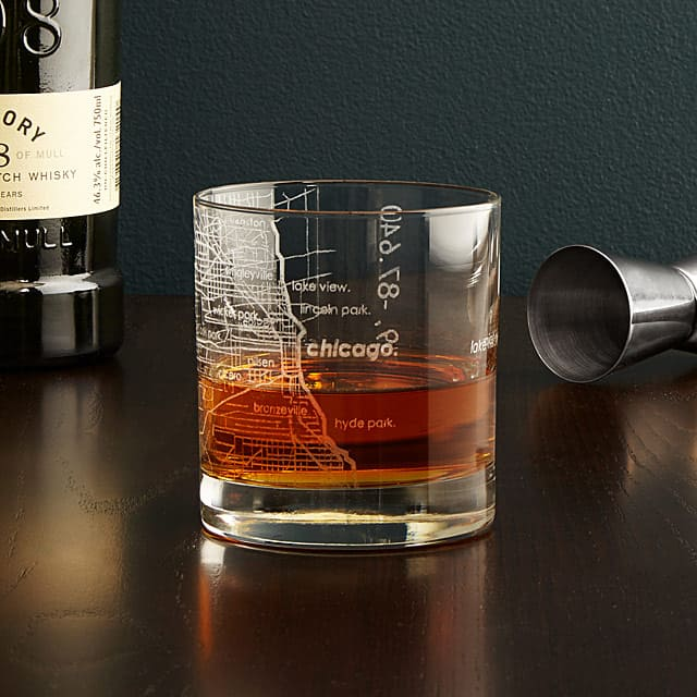 Etched city map glass