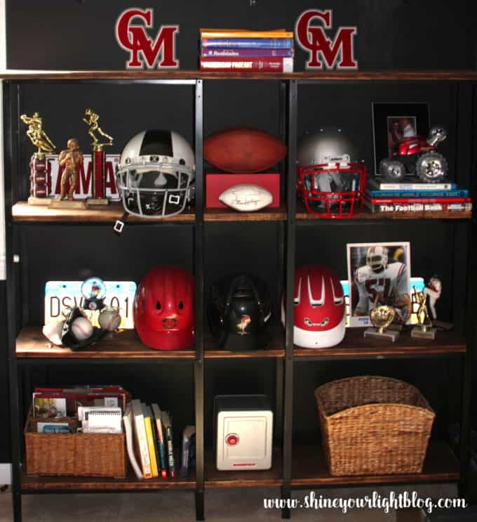 An inexpensive bookcase using two metal utility shelves.