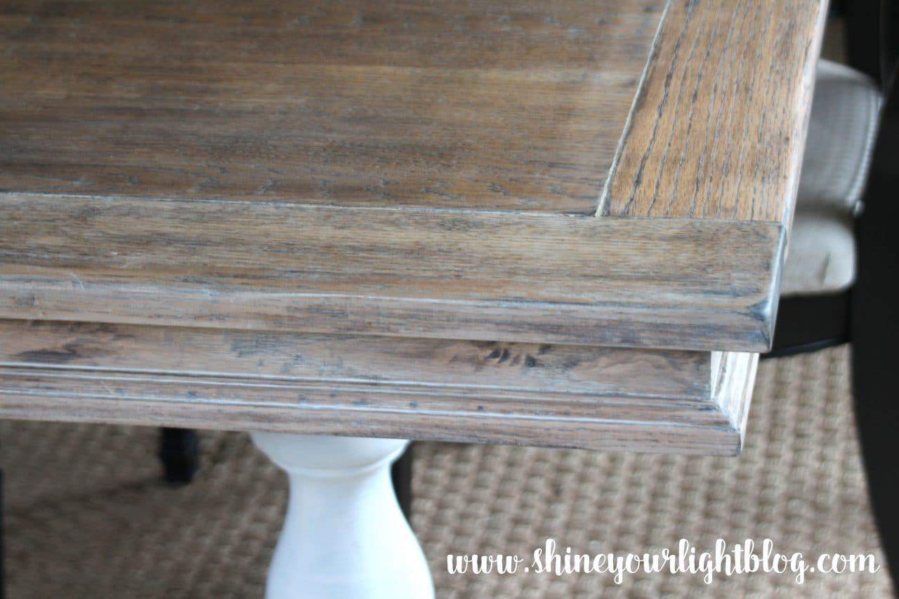 An old table found on Craigslist is given a warm, aged, lime oak finish.