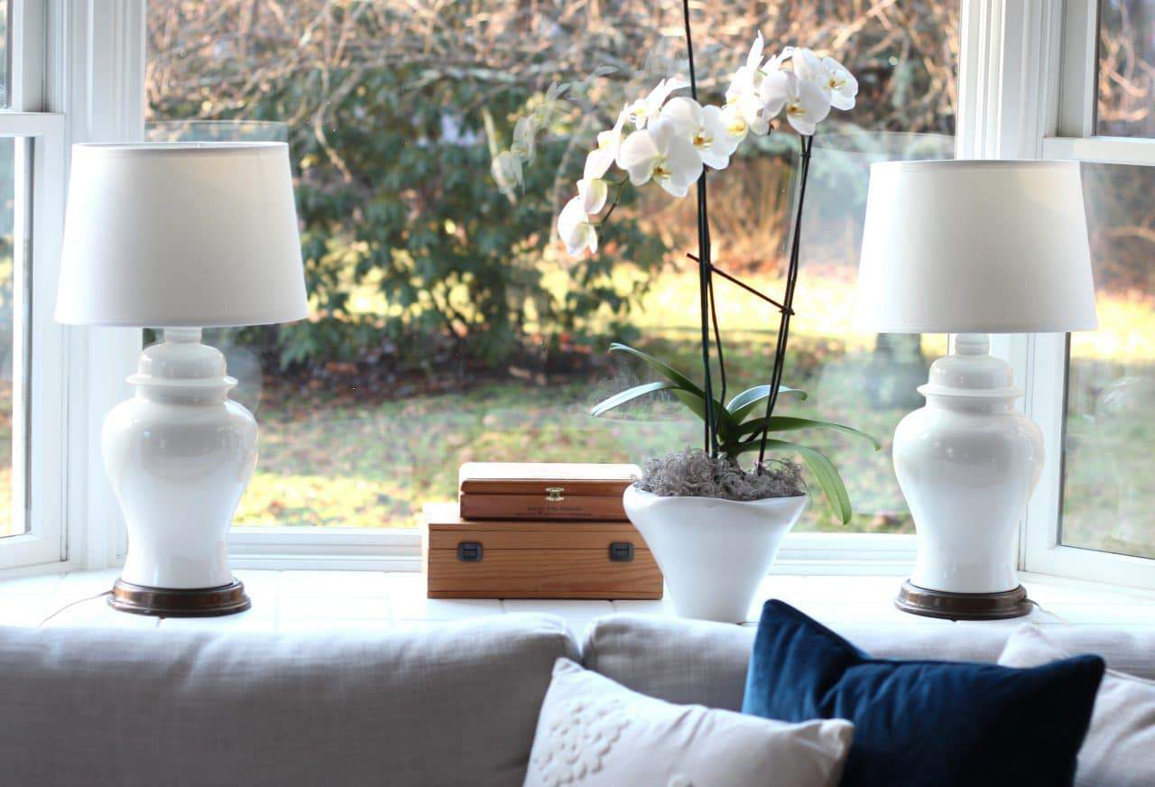 Lamps from a thrift store are paired with new shades.