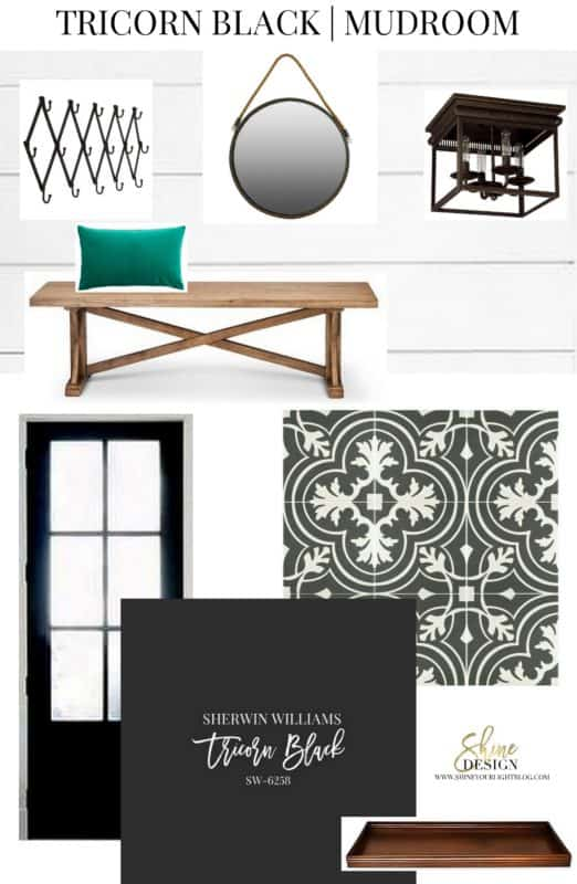Mudroom design based on Sherwin Williams Tricorn Black paint