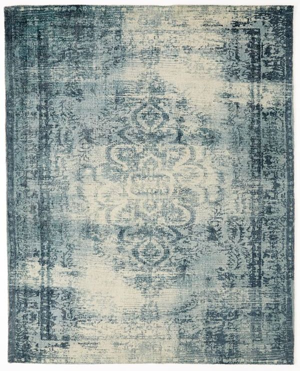 West Elm Arabesque wool rug in blue and cream