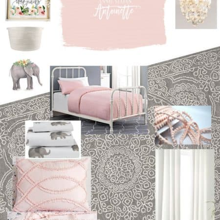 Design board for a little girl's room around the paint color Antoinette by Annie Sloan